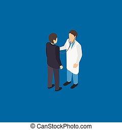 Medical doctor examination isometric vector illustration...
