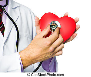 medical doctor holding red heart