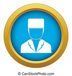 Medical doctor icon blue isolated