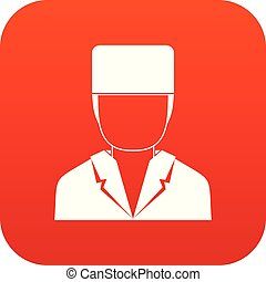 Medical doctor icon digital red