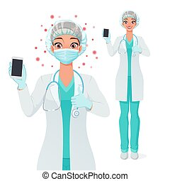 Medical doctor in mask showing blank smartphone screen with thumb up. Isolated vector illustration.