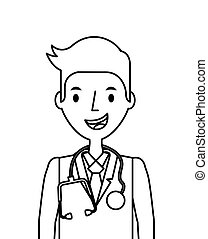 Medical doctor man - medical doctor man icon over white...