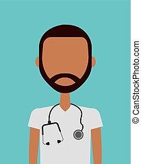 Medical doctor man - medical doctor man icon over blue...