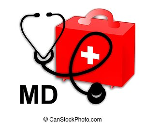 Medical doctor MD and stethoscope - Medical doctor MD,...