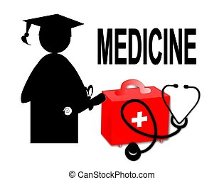 Medical doctor MD / school graduate / stethoscope and first...