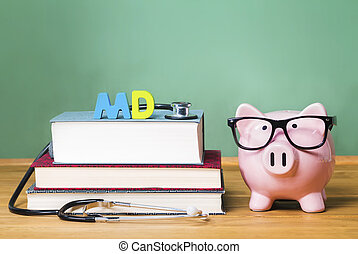 Medical Doctor MD theme with pink piggy bank with chalkboard...