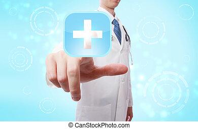 Medical doctor pushing a medical cross symbol icon
