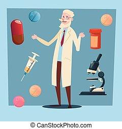 Medical Doctor Senior Man Practitioner Pharmacist Flat Vector Illustration