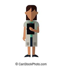 medical doctor stethoscope coat clipboard report
