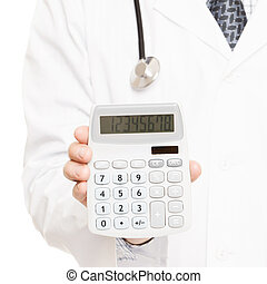 Medical doctor with a calculator in his right hand showing calculated costs and revenues in physician practice and hospital fees - 1 to 1 ratio image