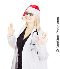 Medical doctor with a santa hat