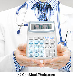 Medical doctor with calculator in his hands - 1 to 1 ratio