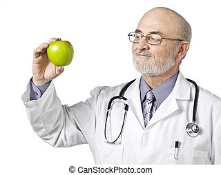 medical doctor with green apple
