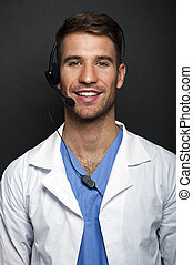 Medical doctor with headset