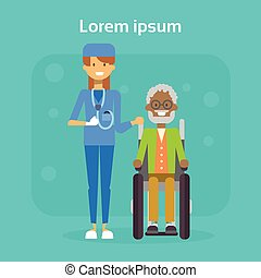 Medical Doctor With Senior Man On Wheel Chair Happy African American Old Male Disabled Smiling Sit On Wheelchair Disability Concept