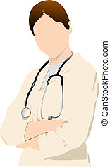 Medical doctor with stethoscope. Vector illustration