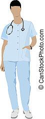 Medical doctor with stethoscope. V