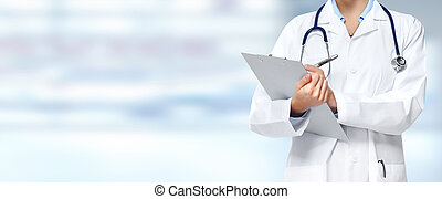 Medical doctor woman hands. - Medical physician doctor hands...