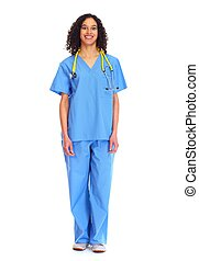 Medical doctor woman isolated white. - Medical doctor woman...
