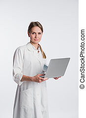 medical doctor woman smile hold tablet pc, using computer. nurse Isolated over white background