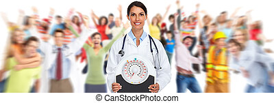 Medical doctor woman with scales.
