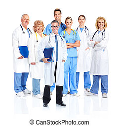 Medical doctors group. Isolated on white background.
