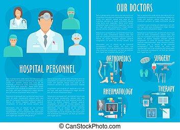 Medical doctors hospital personnel vector poster - Hospital...