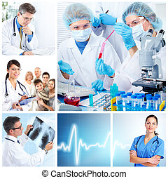Medical doctors in a laboratory. Collage. - Medical doctors...