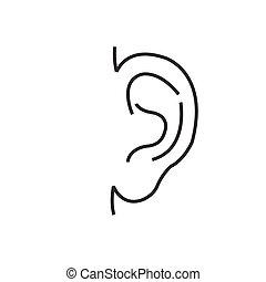 Medical Doctors Otolaryngology ear icon, line icon Style