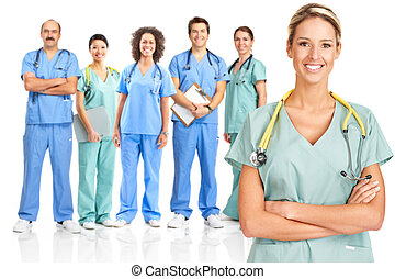 Medical doctors - Smiling medical doctors with stethoscopes....
