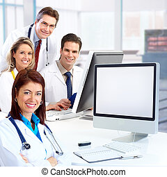 Medical doctors - Smiling medical doctors with stethoscopes...