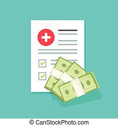 Medical document and money vector illustration, flat cartoon...