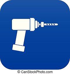 Medical drill icon digital blue