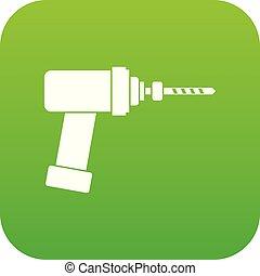 Medical drill icon digital green