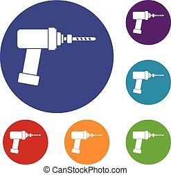 Medical drill icons set