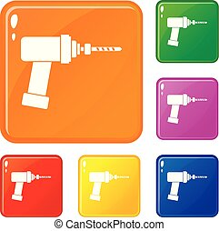 Medical drill icons set vector color