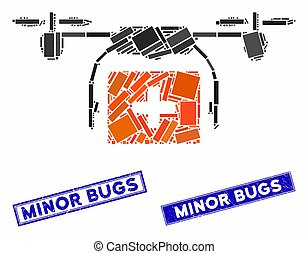Medical Drone Shipment Mosaic and Distress Rectangle Minor Bugs Stamp Seals