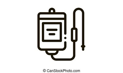 medical dropper Icon Animation. black medical dropper animated icon on white background