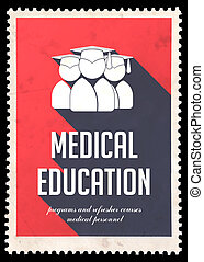 Medical Education on Red in Flat Design.
