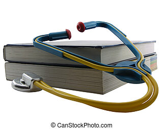 Medical Education - Textbooks with a stethoscope on them,...
