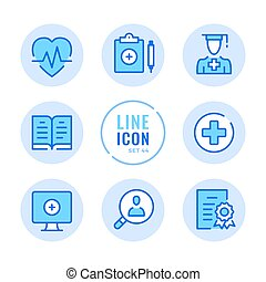Medical education vector line icons set. Medical school, college, healthcare education and training, internship outline symbols. Thin line design. Modern simple stroke graphic elements. Round icons