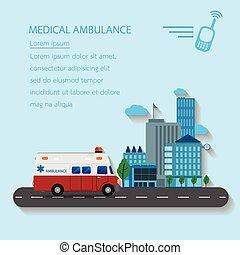 Medical emergency ambulance car