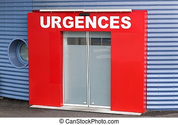 Medical emergency called urgences in french, France