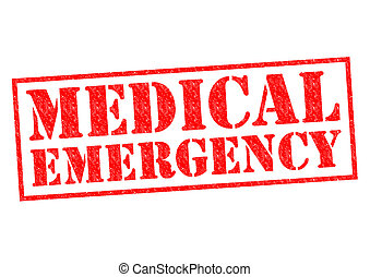 MEDICAL EMERGENCY red Rubber Stamp over a white background.