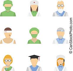 Medical employee icon set