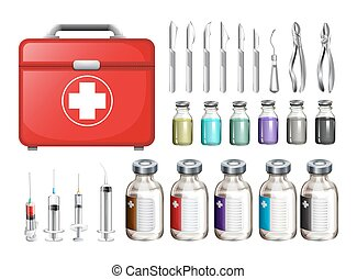 Medical equiments and firstaid box illustration