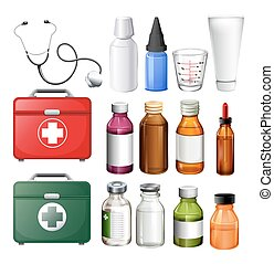 Medical equipment and containers illustration