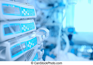 Medical equipment at the bedside in hospital