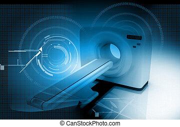 Digital illustration of medical equipment in color background