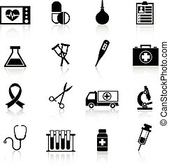 Medical equipment icon black set with heart rate pill enema isolated vector illustration